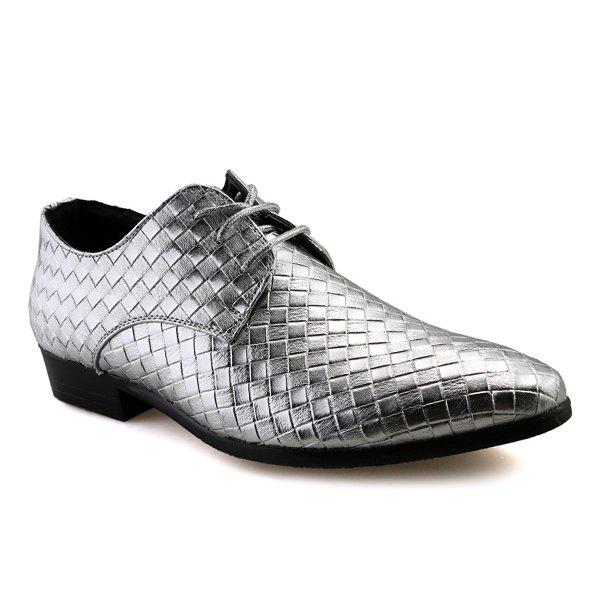 Tie Up Pointed Toe Woven Pattern Formal Shoes - SILVER 41