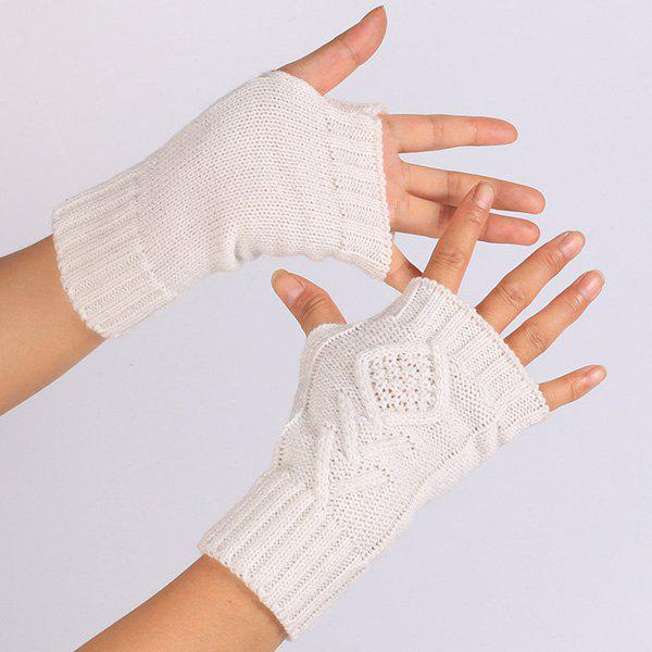 knitting Rhombus Line Embellished Fingerless  Gloves - OFF WHITE