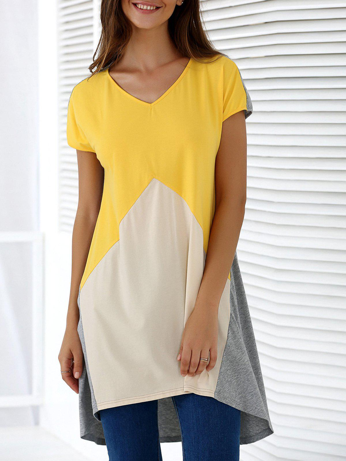 Fashionable Women's V-Neck Short Sleeve Contrast Color Loose-Fitting Blouse - COLORMIX XL