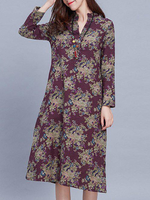 V Neck Midi Floral Long Sleeve Dress vestax v midi