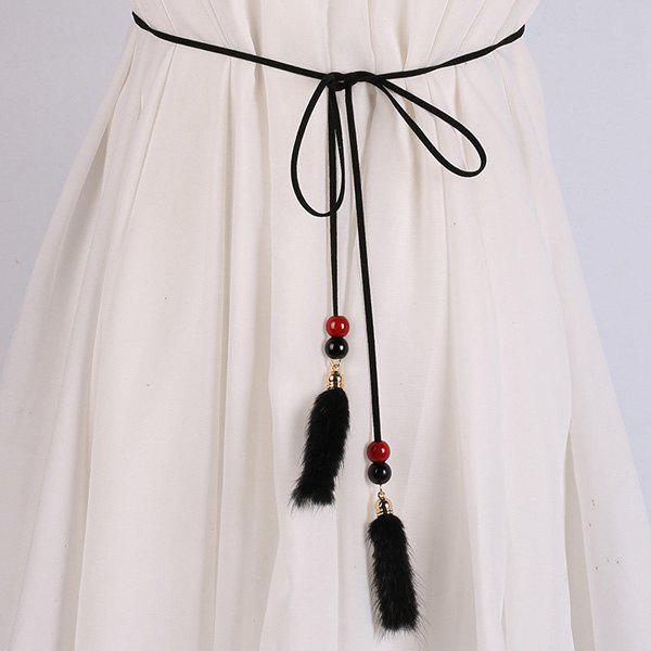 Robe Perle Double Match et Peluche Tassel taille Rope - Noir