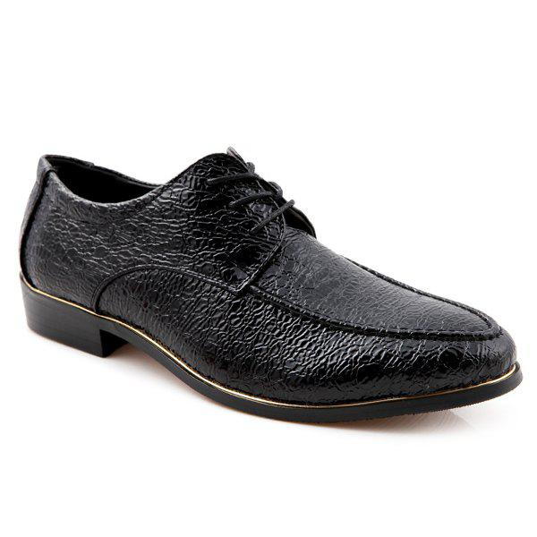 Bout pointu Tie Up gaufrage Formal Shoes - Noir 42