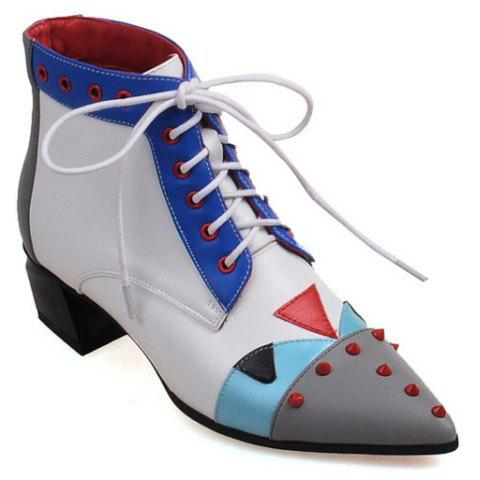 Colour Block Rivets Eyelets Ankle Boots - GRAY 38