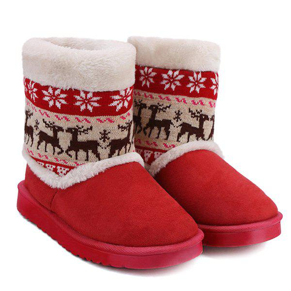 Deer Snowflake Knitted Flock Snow Boots - RED 39