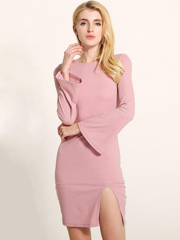 Manches cloche Lace Up Fit Slit Sweater Dress - Rose Clair S