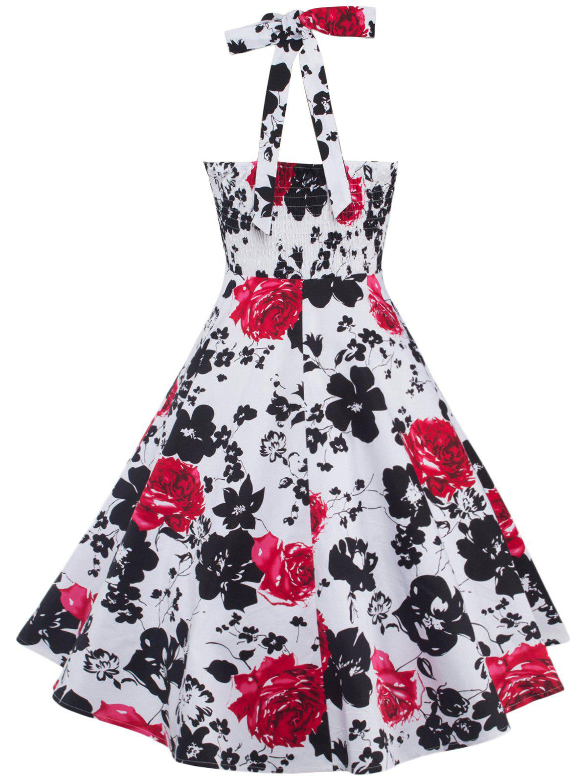 Swing Halter Floral Print Shirred Dress - Noir et Blanc et Rouge S
