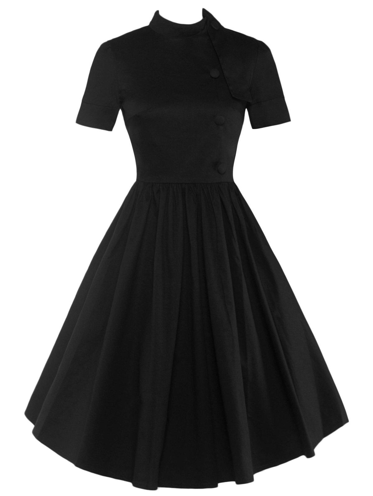 High Waisted Buttoned Flare Dress - BLACK M