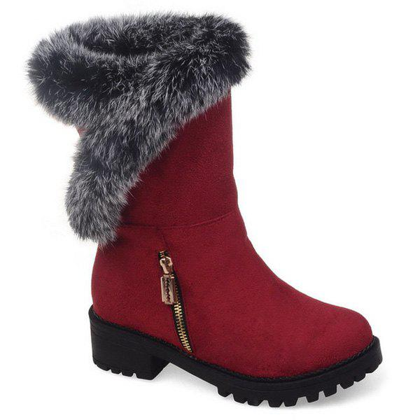 Zipper Suede Faux Fur Mid Calf Boots faux leather side zipper mid calf boots
