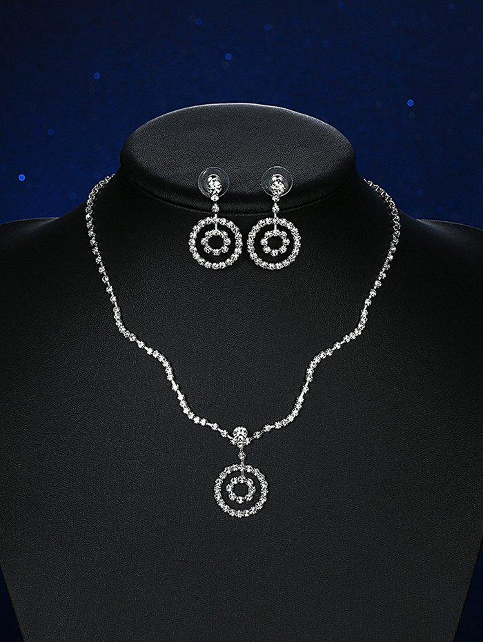 Rhinestoned Round Wedding Jewelry Set rhinestoned hollowed wedding jewelry set