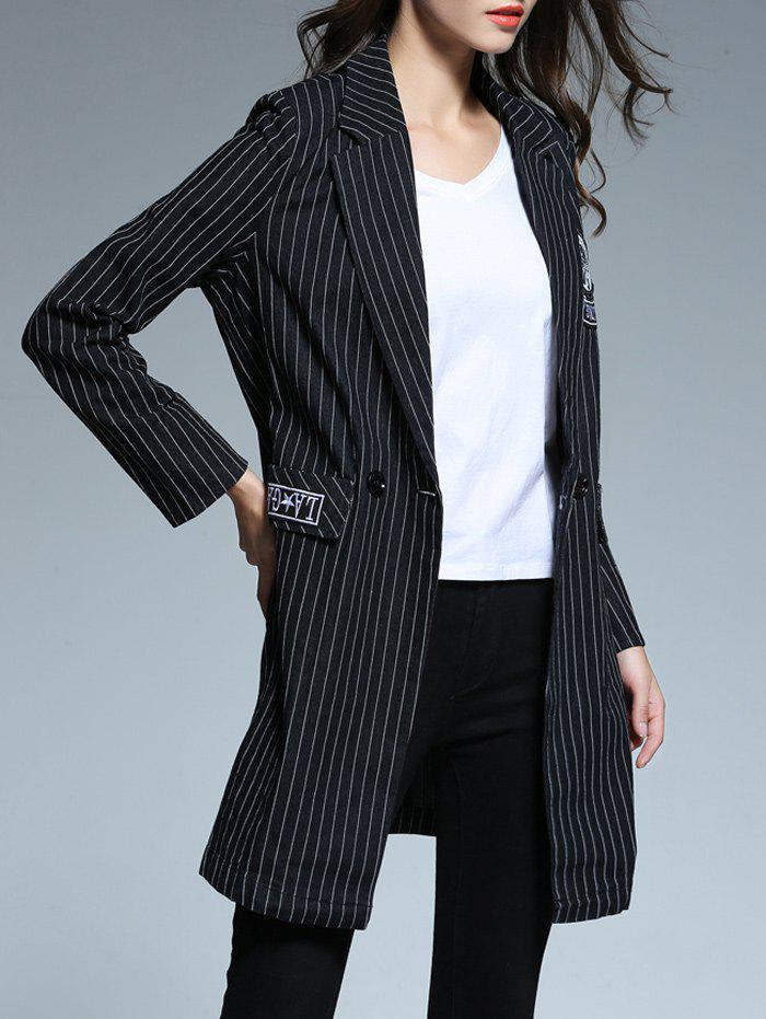 Striped patché Blazer - Noir XL