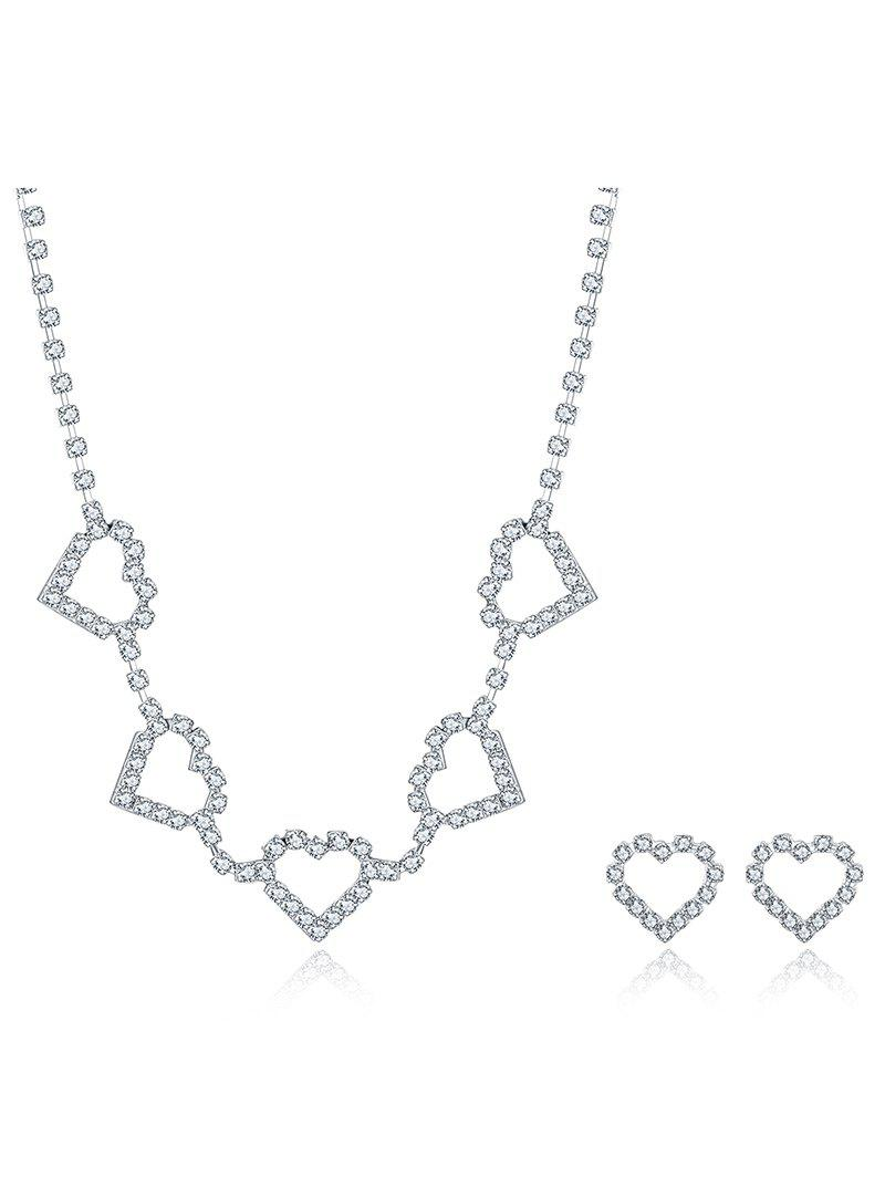 Rhinestoned Heart Wedding Jewelry Set rhinestoned hollowed wedding jewelry set