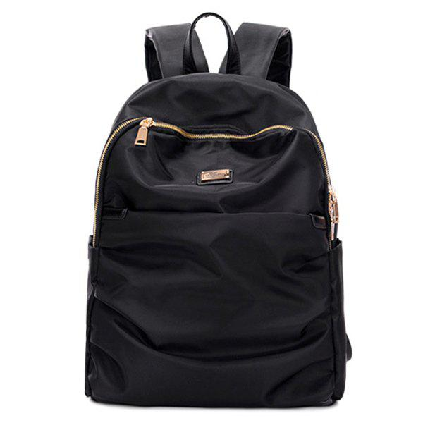 Metal Nylon Double Zipper Backpack