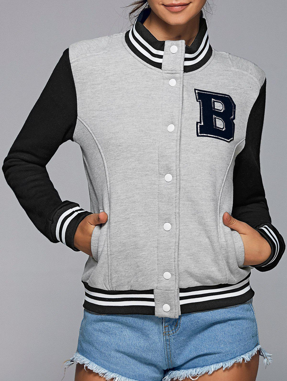 Support actif Neck Color Block Baseball Jacket - gris L