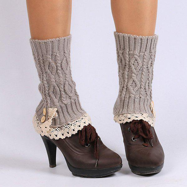 Buttons Lace Edge Rhombus Knitted Boot Cuffs - SMOKY GRAY