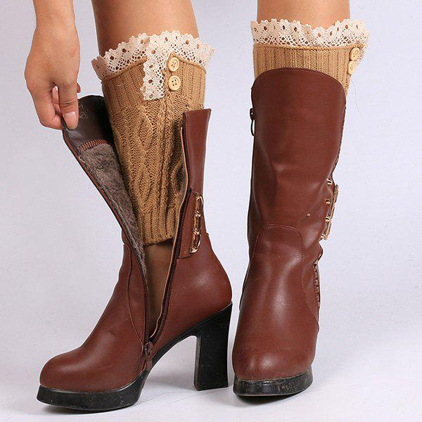 Buttons Lace Edge Rhombus Knitted Boot Cuffs - ANTIQUE BROWN