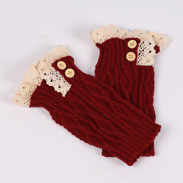 Buttons Lace Edge Rhombus Knitted Boot Cuffs - DEEP RED