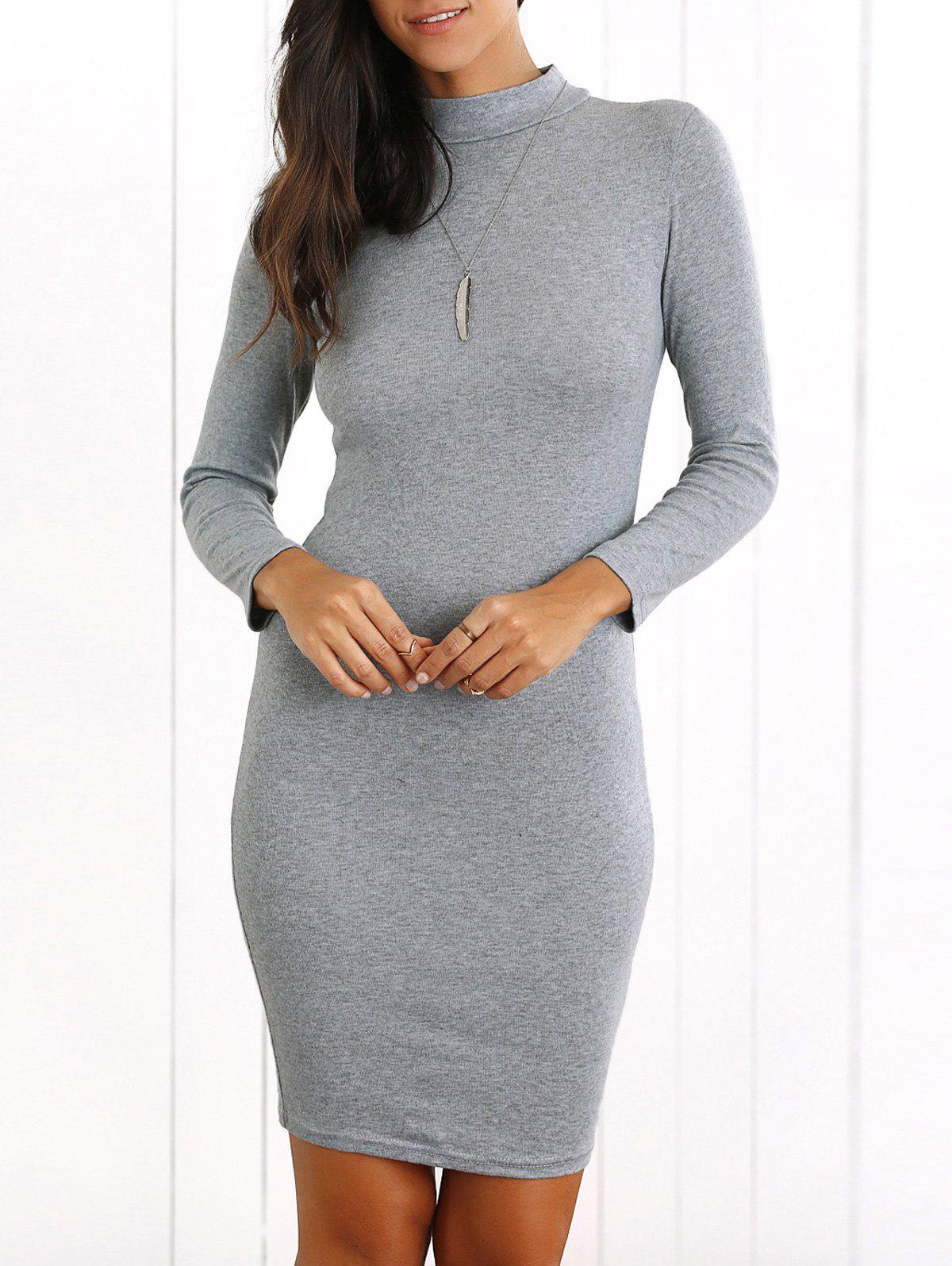 Long Sleeve Bodycon Mini Dress - GRAY M