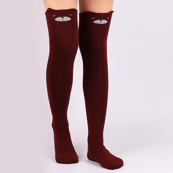 Little Bear Cartoon Thicken Winter Leg Warmer - DEEP RED