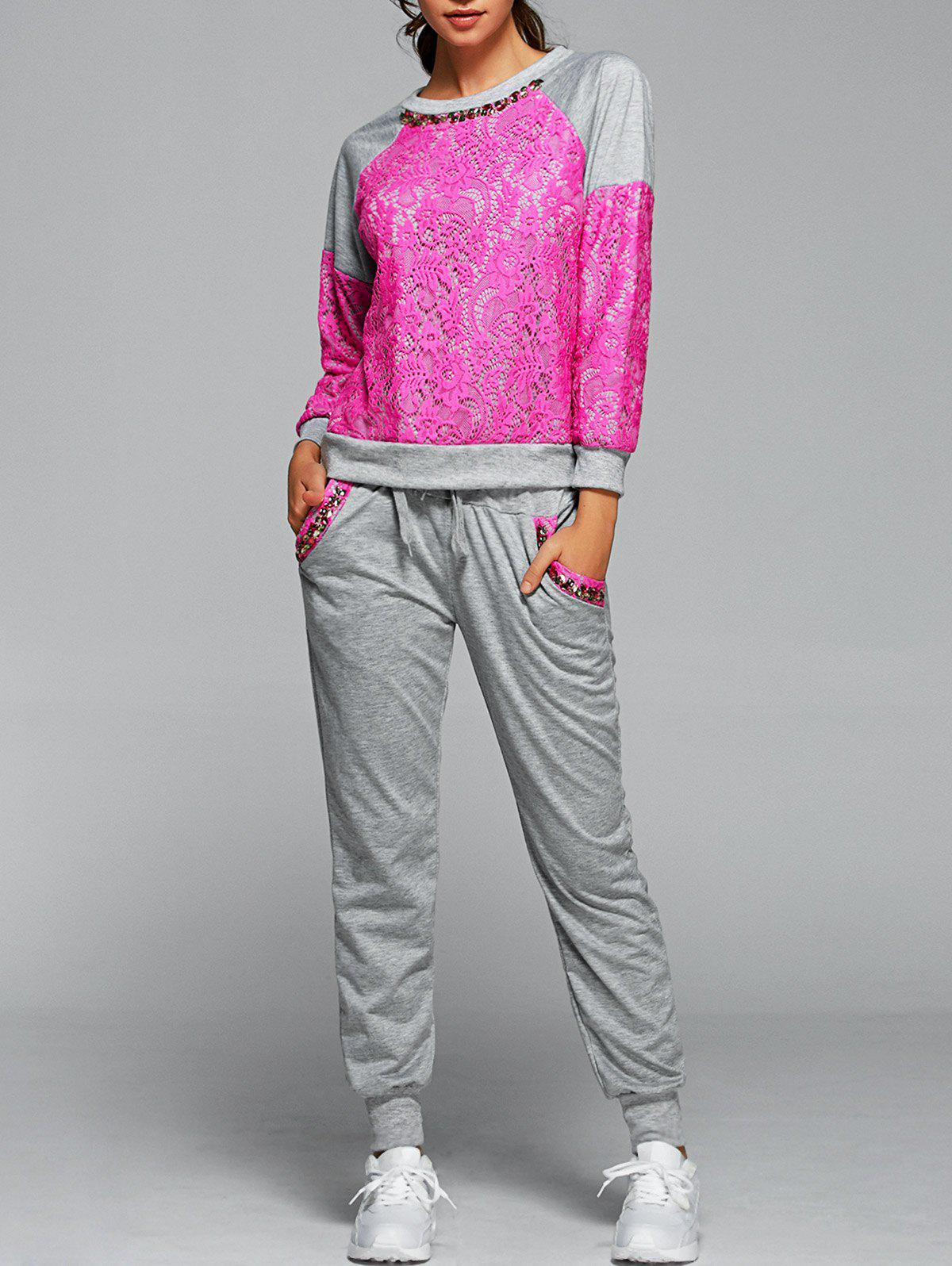 Dentelle Spliced ​​Sweatshirt Avec Pantalon Twinset - rose S