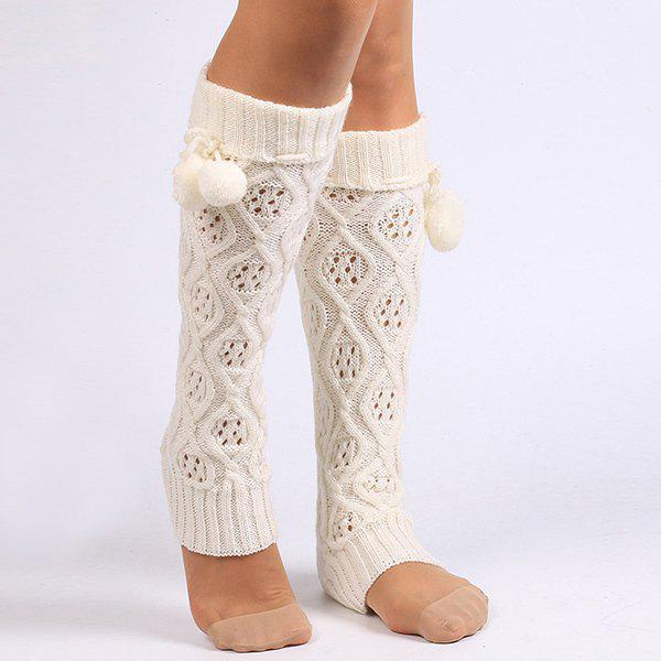 Small Ball Flanging Infinity Knitted Leg Warmers - WHITE