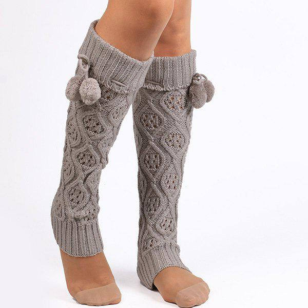 Small Ball Flanging Infinity Knitted Leg Warmers - GRAY