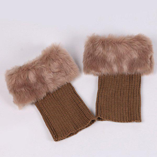 Faux Fur Edge Thicken Knitted Boot Cuffs - ANTIQUE BROWN