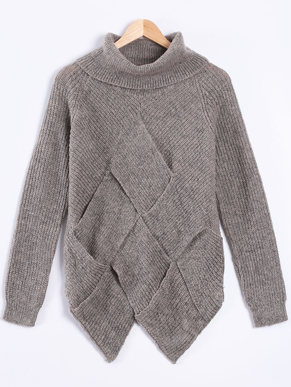 2017 Turtle Neck Long Sleeve High Low Pullover Sweater GRAY ONE ...