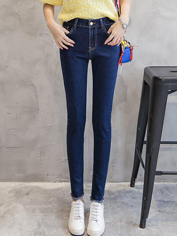 Slimming Fringed Mid Waist Jeans - DEEP BLUE 32