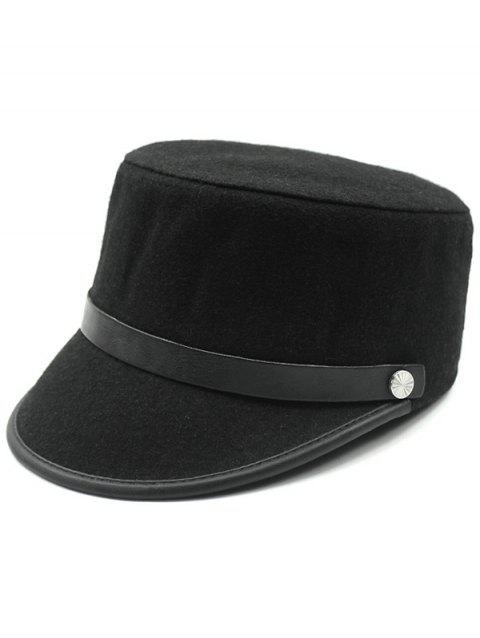 Keep Warm Wool Belt Flat Top Equestrian Hat - JET BLACK