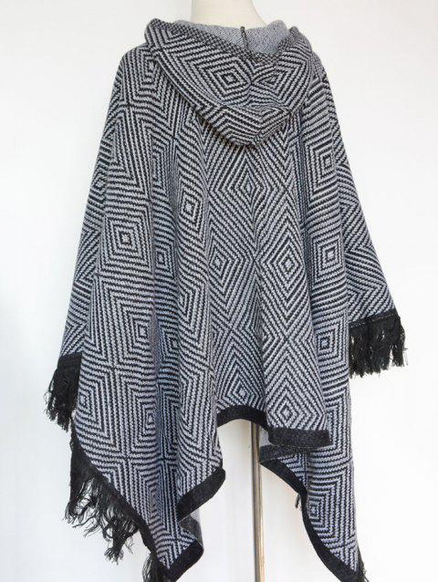 Winter Geometry Square Tassel Hooded Pashmina - WHITE/BLACK