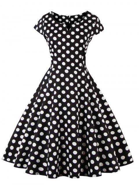 Retro Style Polka Dot Print Dress - BLACK 4XL