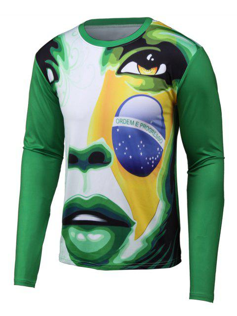 Long Sleeve Abstract 3D Print Round Neck T-Shirt - GREEN XL