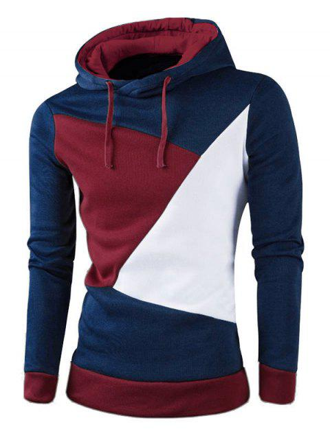 IZZUMI Stylish Color Block Spliced Slim Fit Casual Long Sleeve Hoodies For Men - CADETBLUE M