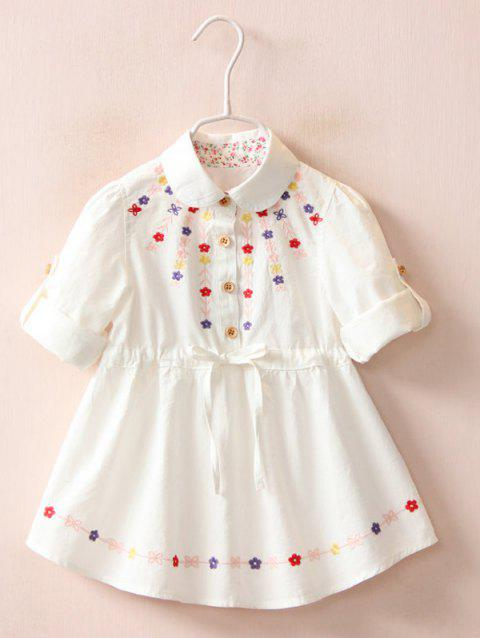 Floral Embroidery Roll Tab Sleeve Shirt Dress - WHITE 120