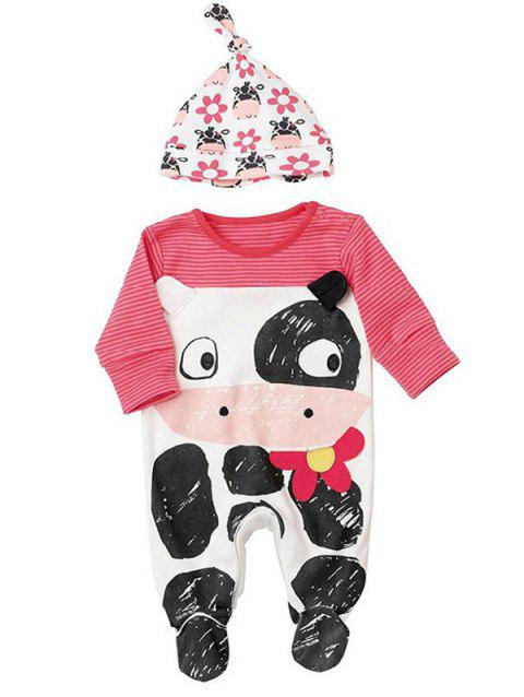 Zebra-Stripe Cartoon Jumpsuit + Cartoon Print Hat - ROSE RED 70