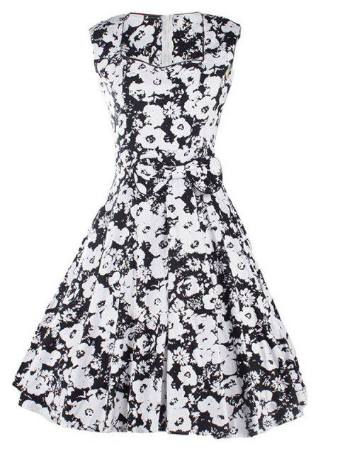 Sweetheart Neck Floral bowknot Robe - Noir S