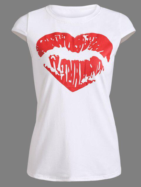 Heart Red Lips Pattern Slim Fit T-Shirt - WHITE M