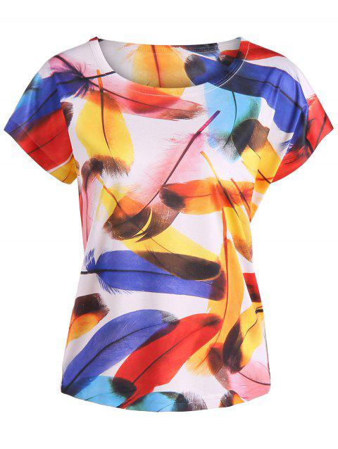 Short Sleeve Feather Print Tee - COLORMIX ONE SIZE