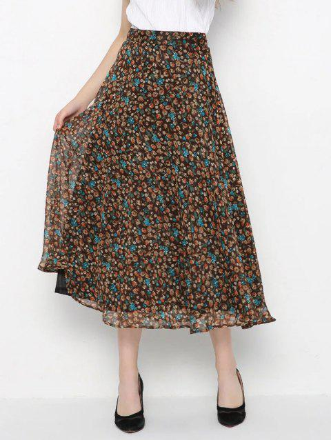 High-Waisted Tiny Floral Print Skirt - BROWN L