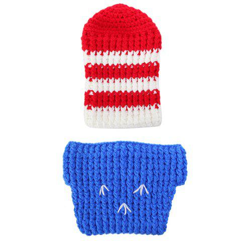 Crochet Baby Photography Knitted Soldier Baby Clothes Set - BLUE/RED
