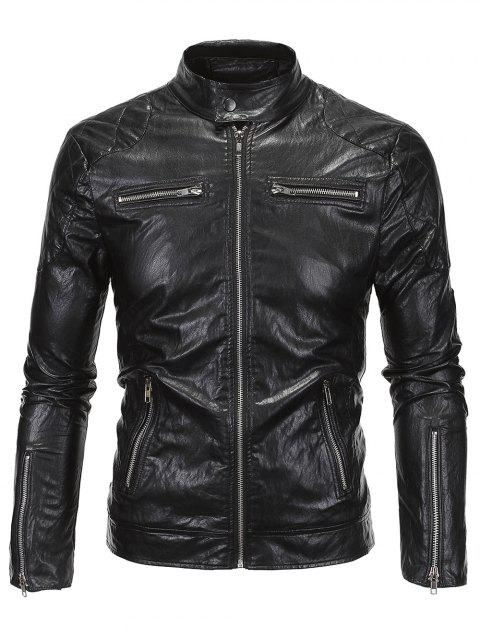 Stand Collar Zippered Spliced Faux Leather Jacket - BLACK 4XL