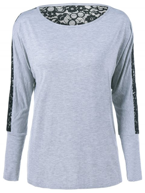See-Through Lace Insert T-Shirt - BLACK/GREY XL