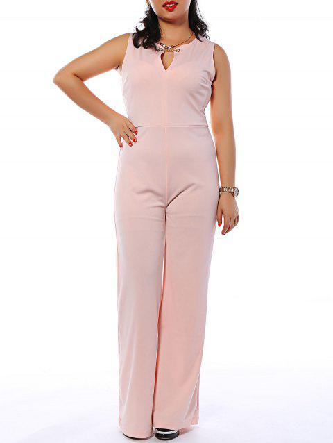 Sleeveless Metallic Trumpet Jumpsuit - PINK L