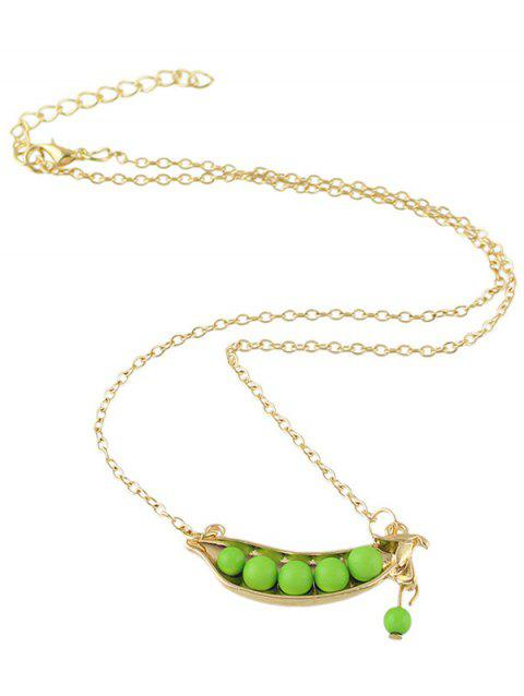 Alloy Peasecod Beaded Pendant Necklace - GOLDEN