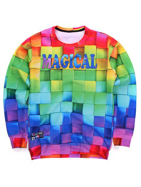Round Neck Long Sleeve 3D Colorful Cube Print Sweatshirt - COLORMIX XL