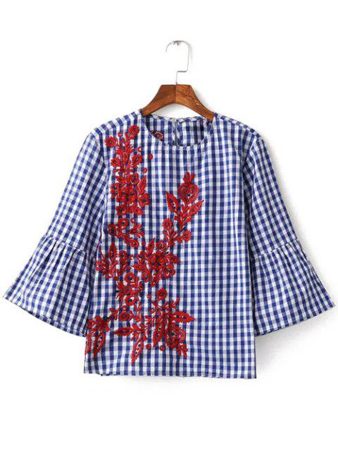 Bell Sleeve Plaid Embroidery Blouse - CHECKED L