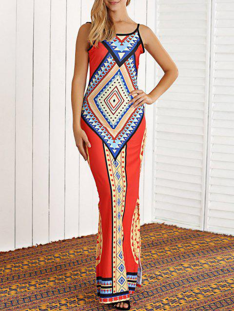 Tribal Print Open Back African Maxi Dress - JACINTH S