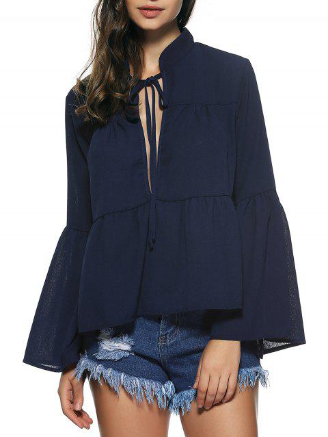 Bell Sleeves Lace Up Flounce Blouse - DEEP BLUE XL