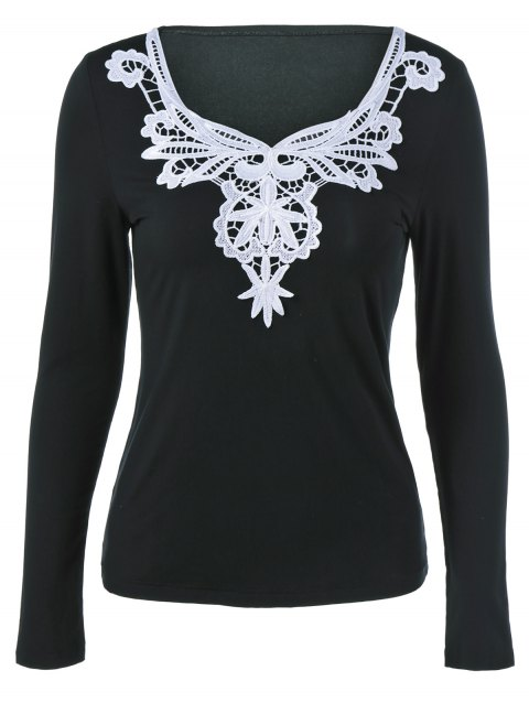 Lace Splicing Long Sleeve Blouse - BLACK S