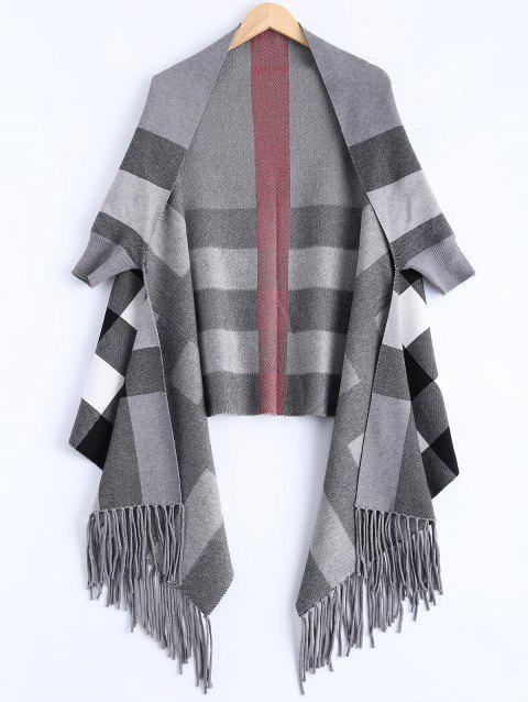 Plaid Asymmetric Tassel Cape - Gris ONE SIZE